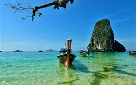 Preview wallpaper Railay Beach, Island, Thailand, boats, sea