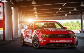 Red Ford Mustang Muscle car