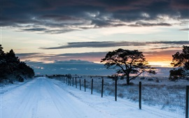 Preview wallpaper Road, fence, trees, snow, winter, sunset, sky, clouds