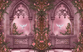 Rose Garden, pigeons, roses, flowers, candles, windows, art pictures