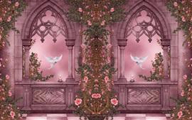 Rose Garden, голуби, розы, цветы, свечи, окна, художественные фотографии
