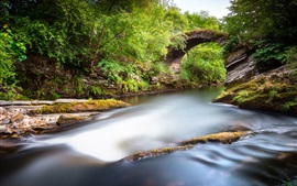 Preview wallpaper Scotland, Alba, Great Britain, park, valley, river, rocks, bridge, green
