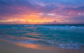 Seaside, dawn, sea, waves, sand, sky clouds, sunrise Wallpapers Pictures Photos Images