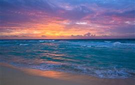 Приморский, рассвет, море, волны, песок, небо, облака, восход