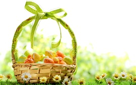 Preview wallpaper Spring, flowers, Easter eggs, colorful, basket