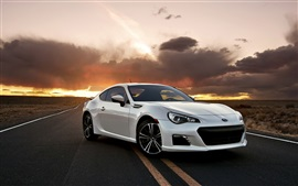 Preview wallpaper Subaru BRZ white car in the road