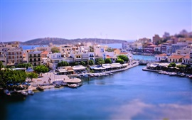 Tilt-shift photography, bay city, Greece, boats, house