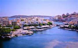 Aperçu fond d'écran tilt-shift photographie, baie ville, Grèce, bateaux, maison