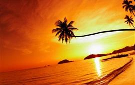 Aperçu fond d'écran Plage tropicale coucher du soleil, île Mak, Thaïlande