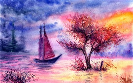 Preview wallpaper Watercolor landscape, evening, tree, sailing, river