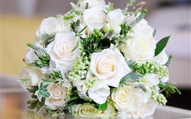 Preview wallpaper White bouquet rose, flowers, leaves