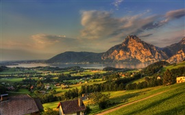 Austria, town, mountains, rocks, river, forest, house, morning