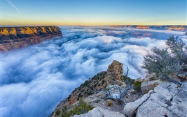 Preview wallpaper Arizona, Grand Canyon, mist, morning, sunrise, clouds