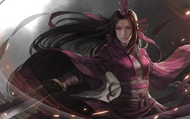 Art fantasy girl, asian, sword, purple clothes