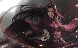 Art fantastique fille, épée asiatique, vêtements pourpres
