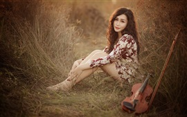 Preview wallpaper Asian girl, pose, look, violin, music