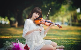Asian girl, white dress, violin