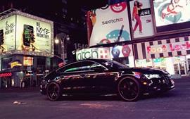 Audi A7 black car, city street, night