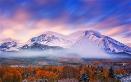 Preview wallpaper Autumn morning, mountains, sky, snow, forest