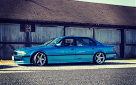 Preview wallpaper BMW E38 750iL blue car side view