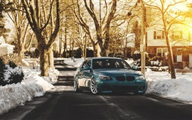 BMW E60 528i M5 blue car, winter, sunrise