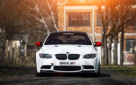 Preview wallpaper BMW M3 E92 white car, sunset, front view, trees