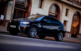 Preview wallpaper BMW X6 black car side view