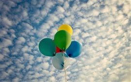 Balloons, colorful, clouds, sky