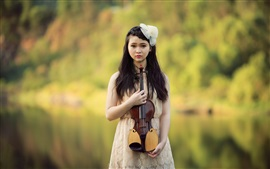 Preview wallpaper Beautiful asian girl, violin, music