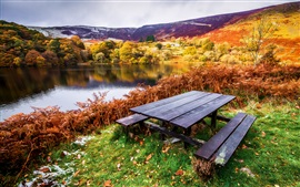 Preview wallpaper Beautiful landscape, autumn, river, trees, table, benches, grass, leaves