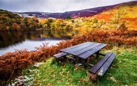 Красивый пейзаж, осень, река, деревья, стол, скамейки, трава, листья