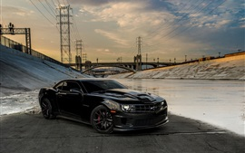 Preview wallpaper Chevrolet Camaro black car, bridge, power line
