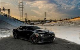 Chevrolet Camaro black car, bridge, power line