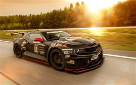 Preview wallpaper Chevrolet Camaro muscle black supercar, high speed