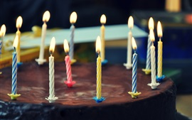 Preview wallpaper Chocolate cake, sweet, candles, fire