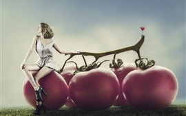 Preview wallpaper Creative design, girl, super tomatoes, glass of juice
