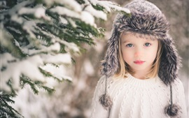 Preview wallpaper Cute girl, child, blonde, winter snow