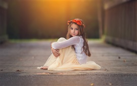 Cute girl, child, sitting, look, wreath, flowers Wallpapers Pictures Photos Images
