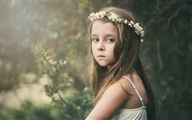 Preview wallpaper Cute girl look, child, flower wreath