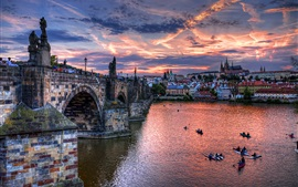 Czech, Prague, city, bridge, river, evening, houses, clouds