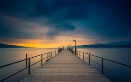 Crepúsculo, costa, mar, ponte, cais, céu