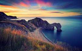 Preview wallpaper England, morning scenery, sea, rock arch