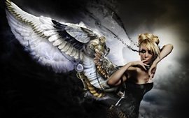 Preview wallpaper Fantasy girl, angel, wings, blonde