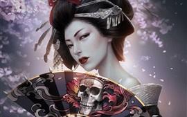 Aperçu fond d'écran Imagination fille japonaise, geisha, kimono, fan de papier, crâne