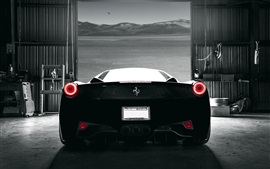 Preview wallpaper Ferrari 458 Italia black supercar back view