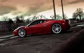 Preview wallpaper Ferrari 458 Italia red supercar at evening