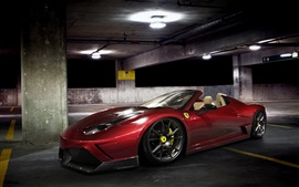 Preview wallpaper Ferrari 458 Spider red supercar at parking