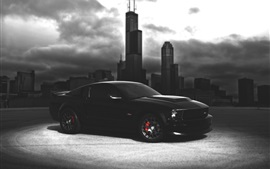 Ford Mustang black car, dark night, city