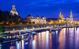 Germany, Dresden, Altstadt, city, night, lights, river, buildings