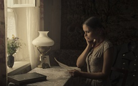 Preview wallpaper Girl read letter in room